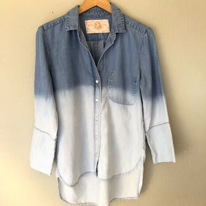 Bella Dahl Chambray Button Down Shirt Tie Dye S